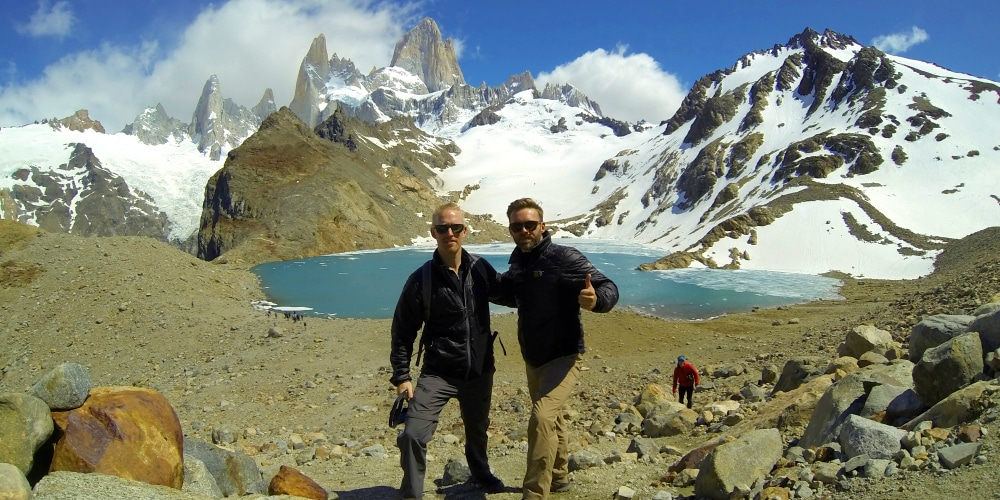 Tietz brothers Eric, left, and Ryan, right, exploring the mountains of Patagonia. (Photos courtesy of Ryan Tietz)